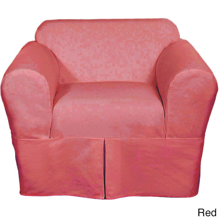 Classic Two-piece Twill Chair Slipcover (Red) (Solid)