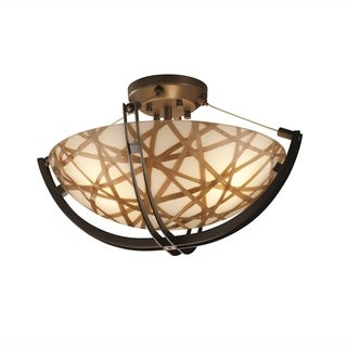 Justice Design 3Form Crossbar 3-light Round Semi-flush Mount