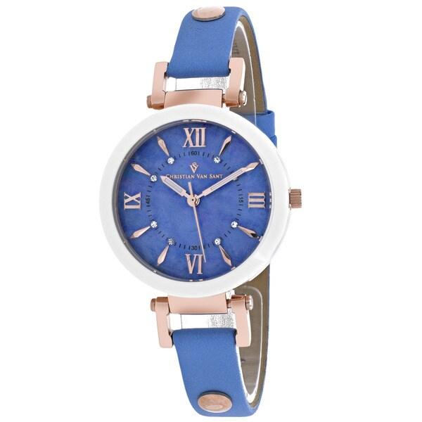 Christian Van Sant Women's Petite Round White Strap Watch