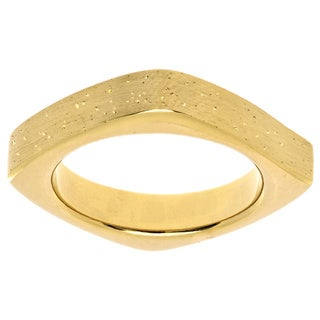 Gold Over Sterling Silver Yellow Stardust Square Stackable Ring