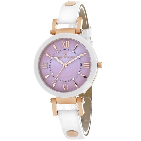 Christian Van Sant Women's Petite Round White Strap Watch