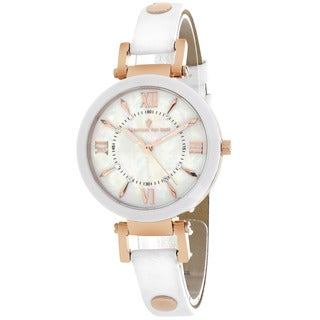 Christian Van Sant CV8163 Women's Petite Round White Strap Watch