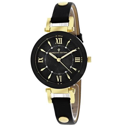 Christian Van Sant Women's Petite Round Black Strap Watch