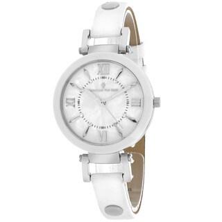 Christian Van Sant CV8161 Women's Petite Round White Strap Watch