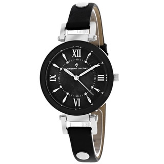 Christian Van Sant CV8160 Women's Petite Round Black Strap Watch