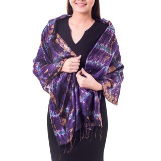 Hand-crafted Silk 'Orchid Mystique' Scarf (Thailand)