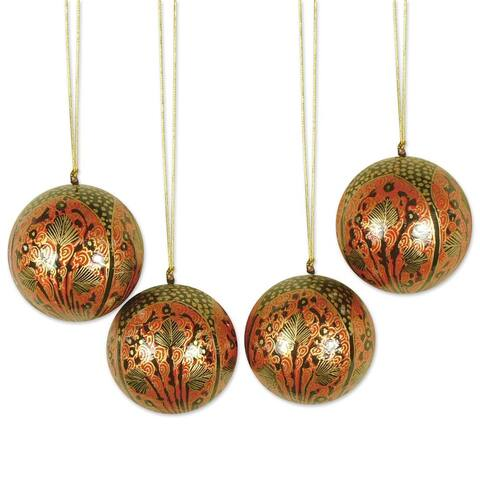 Handmade Set of 4 Paper Mache 'Lavish Celebrations' Ornaments (India)