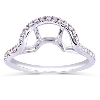 Annello by Kobelli 14k White Gold 1/5ct TDW Curved Diamond Wedding Band (H-I, I1-I2)