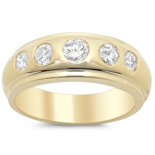 14k Yellow Gold Men's 1 1/10ct TDW Diamond Ring (F-G, SI1-SI2)