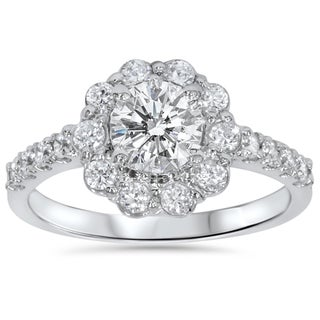 14k White Gold 2 ct TDW Diamond Floral Halo Engagement Ring