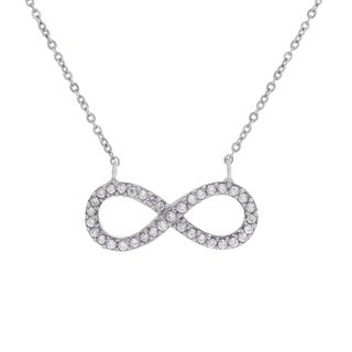 Sterling Silver Cubic Zirconia Infinity Adjustable Necklace