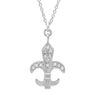 Sterling Silver Cubic Zirconia Fleur de Lis Adjustable Necklace