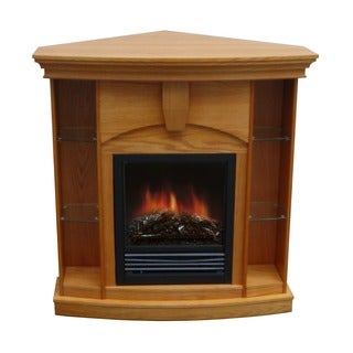 Wessex Medium Walnut/ Oak Corner Curio Fireplace