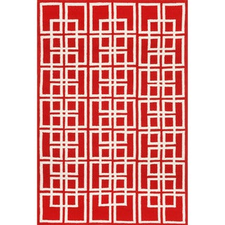 Geometric Red Outdoor Rug (7'6 x 9'6)