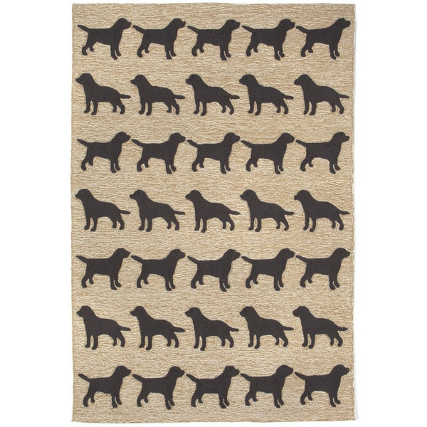 Dog Parade Black Outdoor Rug (7'6 x 9'6)