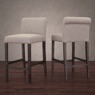 Stones & Stripes Cosmopolitan Beige Linen Counter Stool (Set of 2)