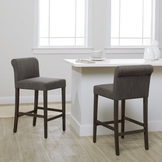 Strick & Bolton Cosmopolitan Smoke Linen Counter Stool (Set of 2)