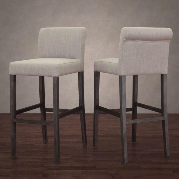 Shop Cosmopolitan Beige Linen Barstool Set Of 2 Free