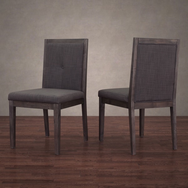 Patterson Smoke Linen Dining Chairs Set of 2 Free