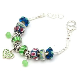 Bleek2Sheek Silvertone 'Festival' Green/ Blue European Charm Bracelet