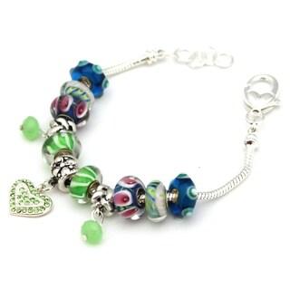 Bleek2Sheek Silvertone 'Festival' Green/ Blue European Charm Bracelet
