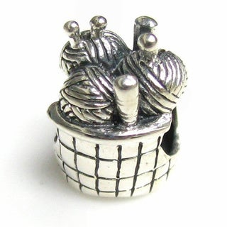 Queenberry Sterling Silver Knitting Yarn Ball European Bead Charm
