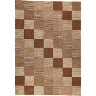 M.A.Trading Hand-knotted Check Brown/ Beige New Zealand Wool Rug (3'x 5'4)