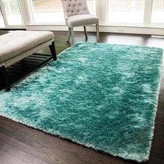 SilkyShag Blue Hand-crafted Polyester Area Rug (5' x 8')