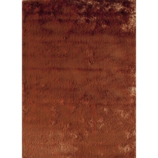 SilkyShag Orange Hand-crafted Polyester Area Rug (5' x 8')