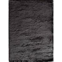 Silky Shag  Black Hand-crafted Area Rug - 5' x 8'