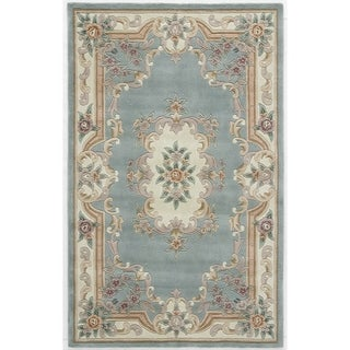 Heritage Hand-crafted Green Wool Area Rug (5' x 8')