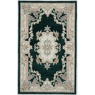 Heritage Green Hand-crafted Wool Area Rug (5' x 8')