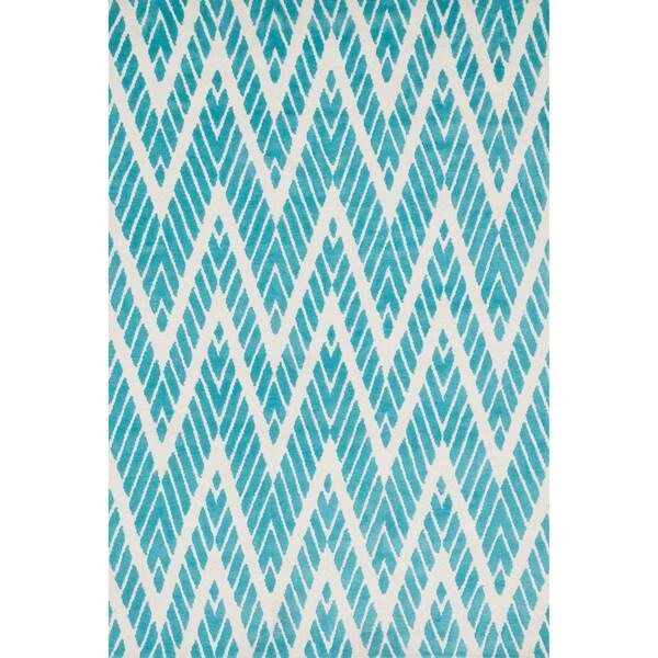 Shop Aaron Aqua Chevron Microfiber Woven Rug