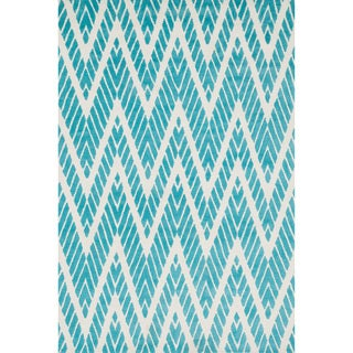 Aaron Aqua Chevron Microfiber Woven Rug (7'6 x 9'6)