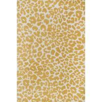 Aaron Ivory/ Gold Leopard Print Microfiber Woven Rug - 3'6 x 5'6