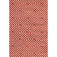 Aaron Rust Fretwork Microfiber Woven Rug