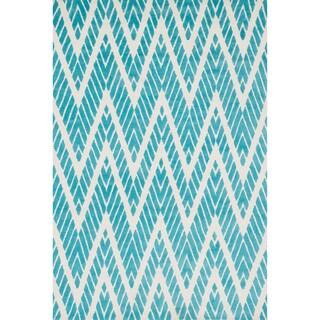 Aaron Aqua Chevron Microfiber Woven Rug (2'3 x 3'9)