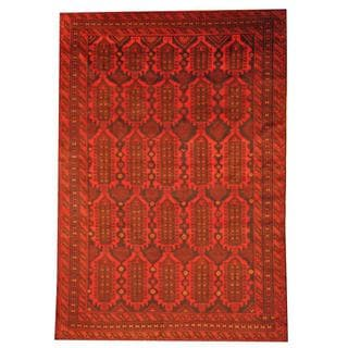 Herat Oriental Afghan Hand-knotted Semi-antique Tribal Balouchi Black/ Red Wool Rug (7'8 x 11'1)