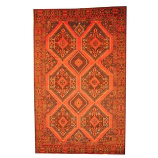 Herat Oriental Afghan Hand-knotted Semi-antique Tribal Balouchi Red/ Ivory Wool Rug (7'9 x 12'5)