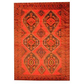 Herat Oriental Afghan Hand-knotted Semi-antique Tribal Balouchi Red/ Black Wool Rug (8' x 11'5)