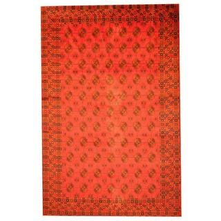 Herat Oriental Afghan Hand-knotted Semi-antique Tribal Balouchi Red/ Black Wool Rug (8' x 12'3)