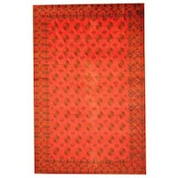 Herat Oriental Afghan Hand-knotted Semi-antique Tribal Balouchi Red/ Black Wool Rug (8' x 12'3) - 8' x 12'3