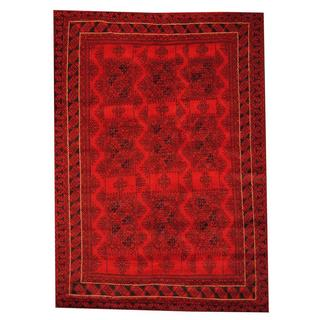Herat Oriental Afghan Hand-knotted Semi-antique Tribal Balouchi Red/ Black Wool Rug (6'6 x 9'1)
