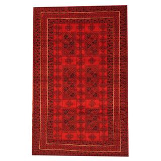 Herat Oriental Afghan Hand-knotted Semi-antique Tribal Balouchi Red/ Black Wool Rug (6' x 9'8)