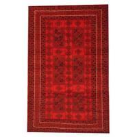 Handmade Herat Oriental Afghan Semi-antique Tribal Balouchi Red/ Black Wool Rug  - 6' x 9'8 (Afghanistan)