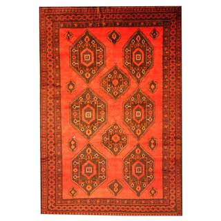 Herat Oriental Afghan Hand-knotted Semi-antique Tribal Balouchi Red/ Blue Wool Rug (8' x 12')