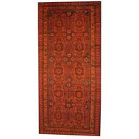 Handmade Herat Oriental Afghan Semi-antique Tribal Balouchi Blue/ Brown Wool Rug  - 6' x 12'8 (Afghanistan)