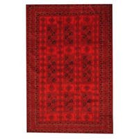 Herat Oriental Afghan Hand-knotted Semi-antique Tribal Balouchi Red/ Black Wool Rug (6'7 x 9'9) - 6'7 x 9'9