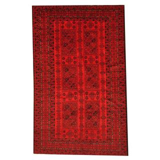 Herat Oriental Afghan Hand-knotted Semi-antique Tribal Balouchi Red/ Black Wool Rug (5'9 x 9'4)