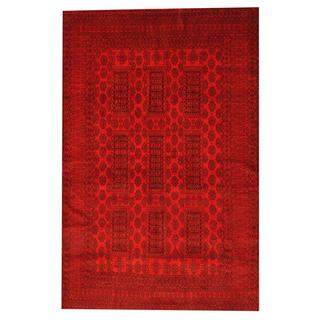 Herat Oriental Afghan Hand-knotted Semi-antique Tribal Balouchi Red/ Black Wool Rug (6'7 x 10')